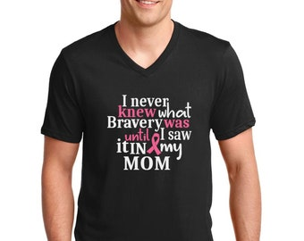 Men's V-neck - I Never Knew What Bravery Was T Shirt, MOM T-Shirt, The Breast Cancer Awareness Month, Survivor, Support T-Shirt