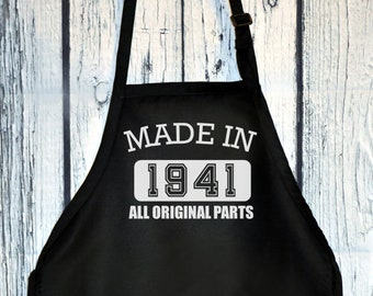 Apron - Made in 1941 All Original Parts, Unisex Kitchen Apron with Pockets, Mommy, Daddy Birthday, Cooking Gift for Mothers Day, Fathers Day