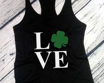 Womens Tank Top, LOVE - Saint Patrick's Day Shirt, Green Clover, Irish Shamrock T-Shirt, St. Patricks Day Shirt