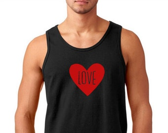 Men's Tank Top - LOVE Shirt Tee, Valentines Day T-Shirt, Funny Gift Idea, Anniversary Tee, Valentine's Day Present