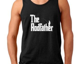 Mens Tank Top - The Rodfather T Shirt, Fishing Shirt, Fishing Rod, Mens Fishing Shirt, Fisherman, Dad Fishing Shirt, Father's Day Shirt