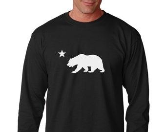 Long Sleeve - California Republic Shirt - Flag Bear And Star Tee - CALI Bear T-Shirt - California Flag Bear Logo