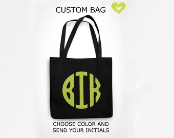 Personalized Tote Bag, Reusable Grocery Bag, Custom Gift, Initials, Monogrammed Canvas Bag, Monogram, Made in USA