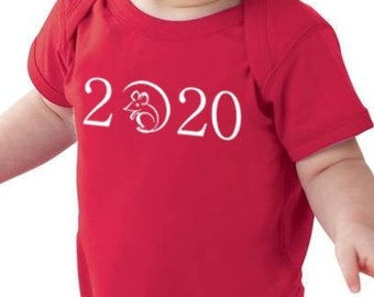 2020 Year Of The Rat Bodysuit - Chinese Party Outfit - Fine Jersey Infant, Boys, Girls, Baby size NB 6M 12M 18M -Spring Festival