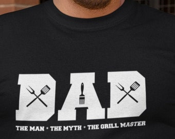 Long Sleeve - Dad Shirt, The Man The Myth The Grill Master, Fathers Day Gift, Funny BBQ T-Shirt, Grilling Gifts, Gift from Daughter Son
