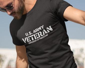 Men's U.S. Army Veteran T-Shirt - Defender Of Freedom - Veterans Day Tee Shirt - Military - Holiday - Patriotic