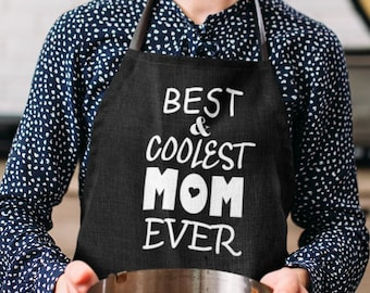 Apron - Best & Coolest Mom Ever, Kitchen Apron with Three-section Pocket, Mommy, Mama, Cooking Gift for Mothers Day, Mom Life