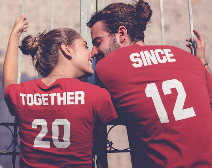 Featured listing image: Together Since Shirts - Couple SET - Custom Year - Personalized Customized T-Shirts - Matching Shirts - Christmas Gift - Valentines Day Tees
