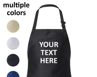 Apron - Customized Personalized Kitchen Apron with Pocket, Own Text, Message, Business Name, Any Font
