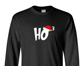 Long Sleeve Men's Ho 3 T-shirt Ho Ho Ho Christmas T Shirt Xmas Santa Claus Funny Humor Joke Tee