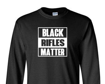 Long Sleeve Men's Black Rifles Matter T-Shirt Guns Rights AR-15 AK47 Gun 2nd Amendment Tee Shirt