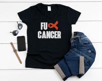 Womens V-neck - FU Cancer T Shirt - Leukemia Awareness, Cancer Awareness, Cancer Shirt, Leukemia Gift, Awareness Ribbon, Cancer T Shirt