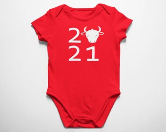 2021 #2 Year Of The Ox Bodysuit - Chinese New Year Outfit - Fine Jersey Infant, Boys, Girls, Baby size Spring Festival Lunar Year