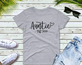 Womens - Auntie Est 2019 T Shirt, CUSTOM Year, Gift for Aunt, Gift for Auntie, Promoted To Auntie Shirt, Pregnancy Reveal, Auntie To Be