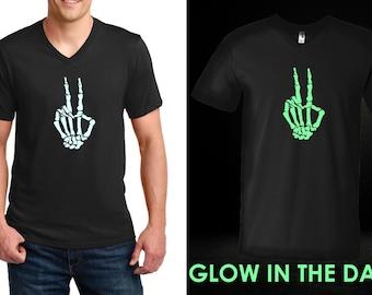 Men's V-neck - Skeleton Hand T Shirt, GLOW in The Dark, Peace Shirt, Peace Sign Shirt, Hippie Shirt, Love Shirt, World Peace, Halloween
