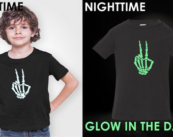 Youth Toddler - Skeleton Hand T Shirt, GLOW in The Dark, Halloween, Peace Shirt, Peace Sign Shirt, Love Shirt, Kids, Boys & Girls