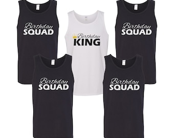 Men's Tank Top - Birthday Squad Shirts #2 - Bday King T-Shirts - Gift For Him - Funny Party Men's Tees - Birthday Group - Party Shirts