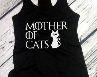 Tank Top - Mother Of Cats T Shirt - Animal Lovers Tee - Rescue T-Shirt - Gift - Cat Shirt - Crazy Cat Lady - Cat Mama  - Racerback