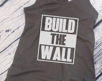 8089572021165 Ladies Tank Top - Build The Wall  2 T-shirt - Political Tee - Donald Trump  President - Funny Gift Humor Shirt - Racerback