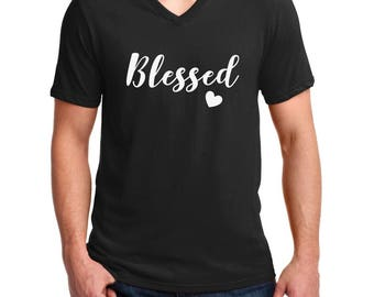 5c9f17f87cc Men s V-neck Blessed T-Shirt - Thanksgiving Tee Shirt - Blessed Papa -  Blessed T Shirt - Thanksgiving T-Shirt - Holiday