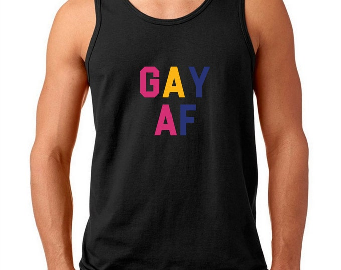 Featured listing image: Men's Tank Top - Gay AF Shirt - Marriage Equality - Love is Love - Coming Out T-Shirt - LGBT Tee - Gay Lesbian Bisexual Trans LGBT Bi