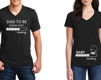 433f0a7a8 V-neck #4 - Pregnancy Announcement Couple T-Shirts - SET - Baby Loading -  Dad To Be Maternity - Baby Shower Tee - Pregnancy Shirts