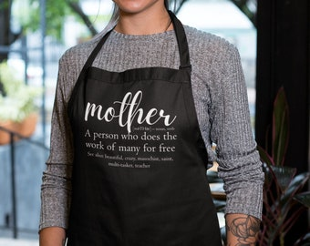 Apron - Mother Definition, Kitchen Apron with Three-section Pocket, Mommy, Mama, Mom, Cooking Gift for Mothers Day, Funny Humor Gifts