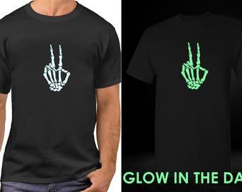 Skeleton Hand T Shirt, GLOW in The Dark, Halloween, Peace Shirt, Peace Sign Shirt, Hippie Shirt, Peace Sign, Love Shirt, World Peace