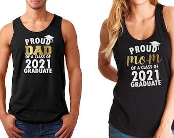 Tank Top - Proud Mom Dad of a Class of 2021 Graduate T Shirts SET, Matching Shirts, Graduation 2021 T-Shirt, Grad Gift, Funny Couples Shirts
