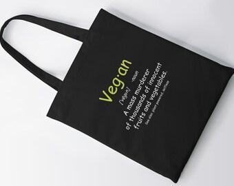Vegan Definition  Tote Bag, Shopping Bag, Shoulder Bag, Grocery Bag, Canvas Bag, Vegan, Avocado, Funny, Taco, Gift, Hipster, Christmas Idea