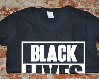 Women's V-Neck Black Lives Matter Shirt - Justice - Freedom T-Shirt - History African American T Shirt - Civil Rights Tee