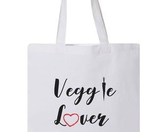 Veggie Lover - Tote Bag - Animal Rights - Cruelty-Free - Stop Animal Testing - Cruelty Free - Love For Animals - Vegan Vegetarian