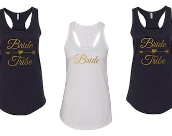 Tank Top - Bride Tribe Shirt - Bride Squad - Bridal Party T-Shirt - Bachelorette Shirts - Bridesmaid Gift - Bride Gift - Racerback