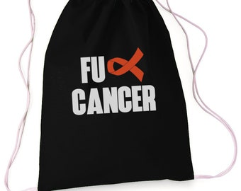 FU Cancer , Drawstring Bag, Sports Bag, Overnight Bag, Drawstring Bag, Duffle Bag, Drawstring Backpack, Leukemia Awareness, Cancer Awareness