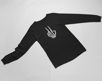 Long Sleeve - Skeleton Hand T Shirt, Halloween, Peace Shirt, Peace Sign Shirt, Hippie Shirt, Peace Sign, Love Shirt, World Peace
