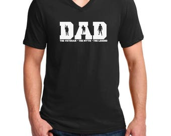 Men's V-neck - DAD The Veteran Myth Legend Shirt - Champs - USA Soldier T-Shirt - Veterans Day Tee - Military - Holiday - Patriotic