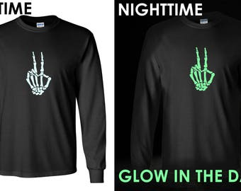 Long Sleeve - Skeleton Hand T Shirt, GLOW in The Dark, Halloween, Peace Shirt, Peace Sign Shirt, Hippie Shirt, Peace Sign, Love Shirt