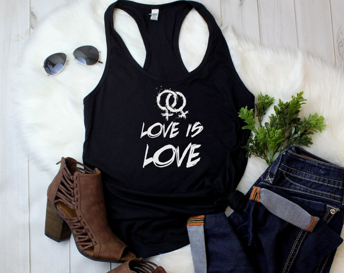 Featured listing image: Ladies Tank Top - Racerback - Love Is Love T-Shirt - Lesbian Gay Bisexual Trans - LGBT Month - Tolerance Tee Shirt - Freedom for All