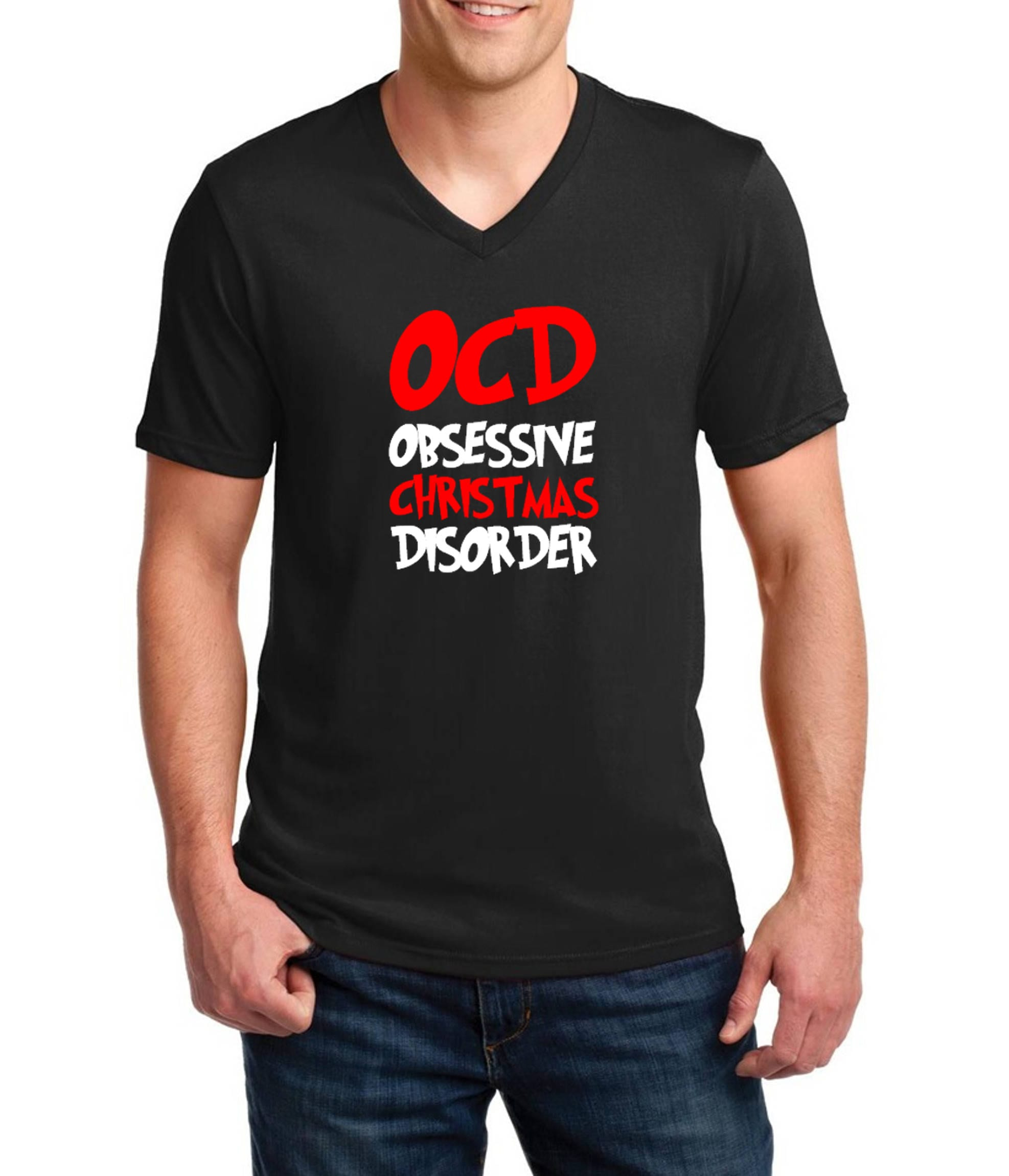 Mens V-neck OCD Obsessive Christmas Disorder T Shirt Christmas Xmas ...