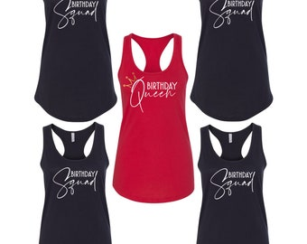 Tank Top - Birthday Squad # Shirts, Bday Queen T-Shirt, Funny Party Women's Tee, Girls Night Out Tees, Birthday Party Shirts, Racerback