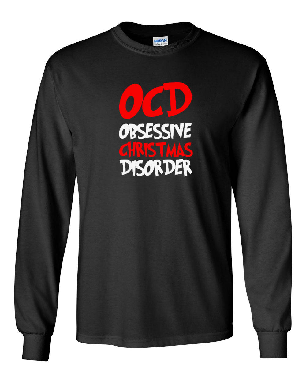 Long Sleeve Mens OCD Obsessive Christmas Disorder T Shirt Christmas ...