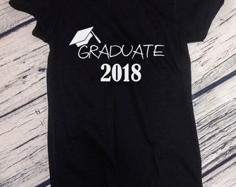 Ladies - Graduate Shirt - Class Of 2018 T-Shirt - Graduation Gift Tee - College - High School - End of School - Senior Shirt