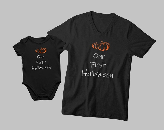 Featured listing image: V-neck Our First Halloween Matching Set, V-neck T-shirt Baby Bodysuit, Father And Daughter Son, 1st Gift, First Halloween