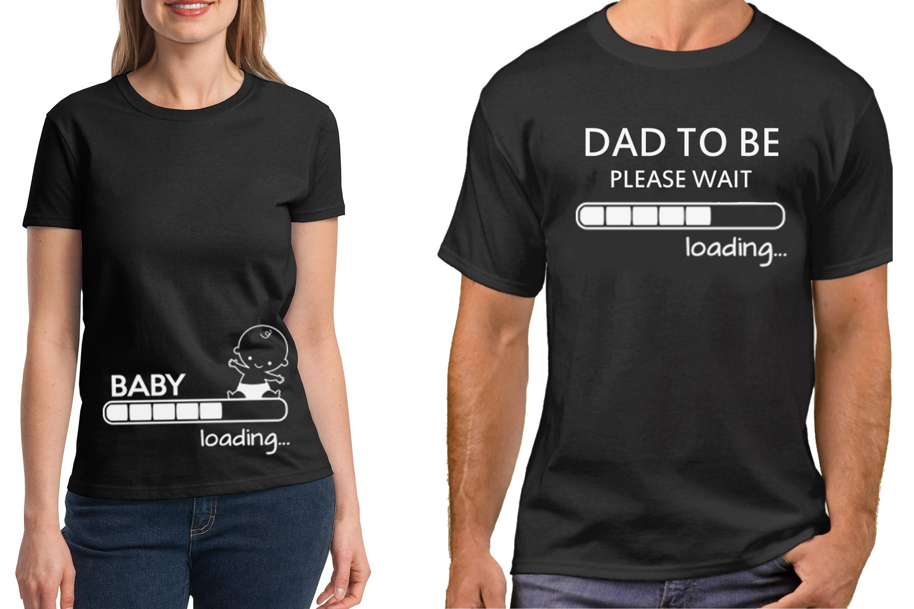 Pregnancy Funny Couple T Shirts Baby Loading Dad To Be T Shirt