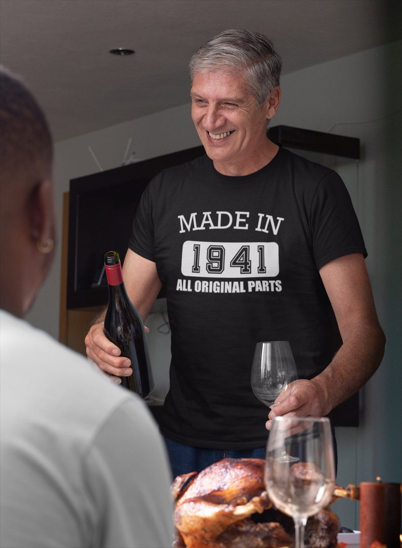 Made in 1941 All Original Parts T Shirt 80th Birthday Gift Black