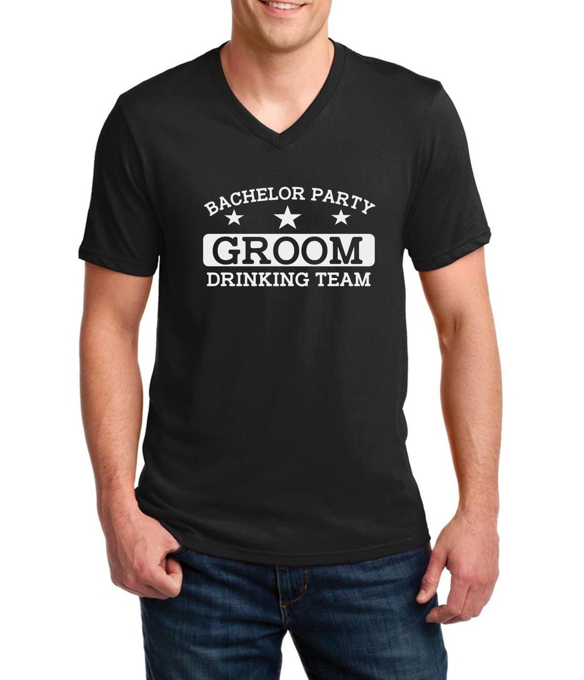 V Neck Mens Bachelor Party Groom Drinking Team Shirt T Shirt