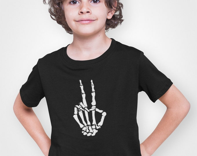 Featured listing image: Youth Toddler - Skeleton Hand T Shirt, Halloween, Peace Shirt, Peace Sign Shirt, Love Shirt, World Peace, Peace T Shirt, Kids, Boys & Girls