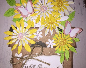Handmade Rustic WITH SYMPATHY Flower pot Card witb Envelope