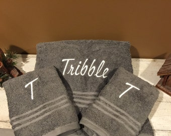 Embroidered Name Bath Towel & 2 Hand Towels with Initial