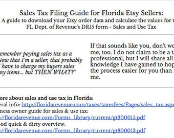 Florida DR15 - Sales Tax FILING Guide For Etsy Sellers (w/ video) // Digital How-To & Spreadsheet Formulas // Etsy Shop Tax Spreadsheet
